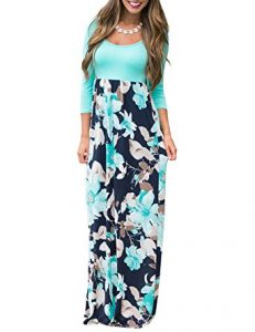 Long flowered maxi dress for women
