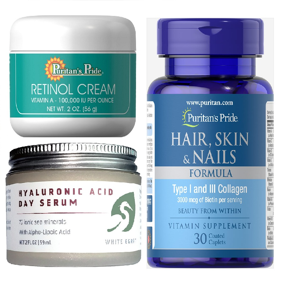 Retinol cream, Hyaluronic Acid Day Serum and Hair,Skin & Nail Vitamin