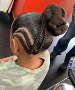 Side Braids with Bun-African American Girl Hairstyles